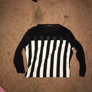 Black&white striped top with sheer mesh sleeves